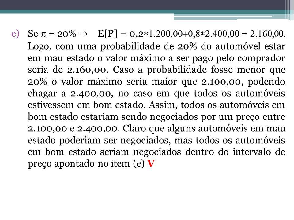 Se p = 20% ⇒ E[P] = 0,2*1.200,00+0,8*2.400,00 = 2.160,00.